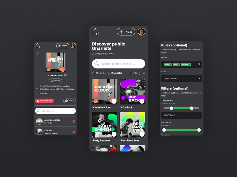 Gnarlist - Music Web App black color design playlist cover playlists music webapp dark app dark mode