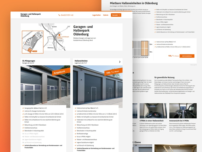Garage Rental Website content design webdesign maps orange design minimalist website rental garage