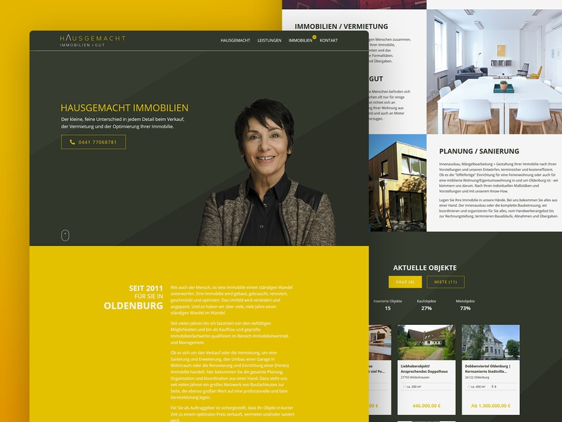Real Estate Agent Website ui design portrait german real estate agent website dark yellow black one pager