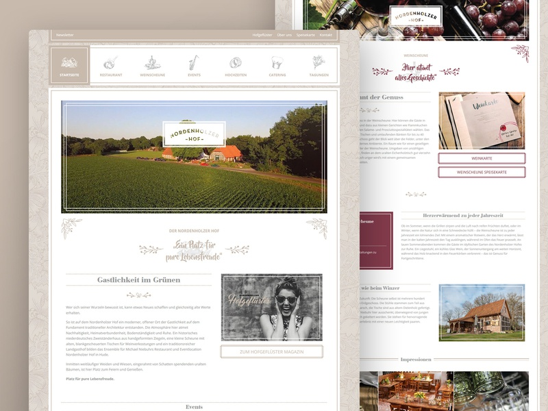 Restaurant Website ui design ux design food wine typogaphy country flower ornaments branding website restaurant