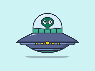 Cute UFO 2 science cosmos spaceship space funny green mascot logo character flying saucer extraterrestrial ufo science fiction minimalist logo kawaii art illustration graphic design