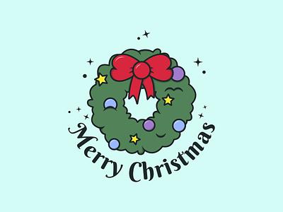 Christmas wreath - Merry Christmas colorful design christmas wreath winter decoration ornaments christmas holiday season minimalist vector illustrator logo kawaii art illustration graphic design