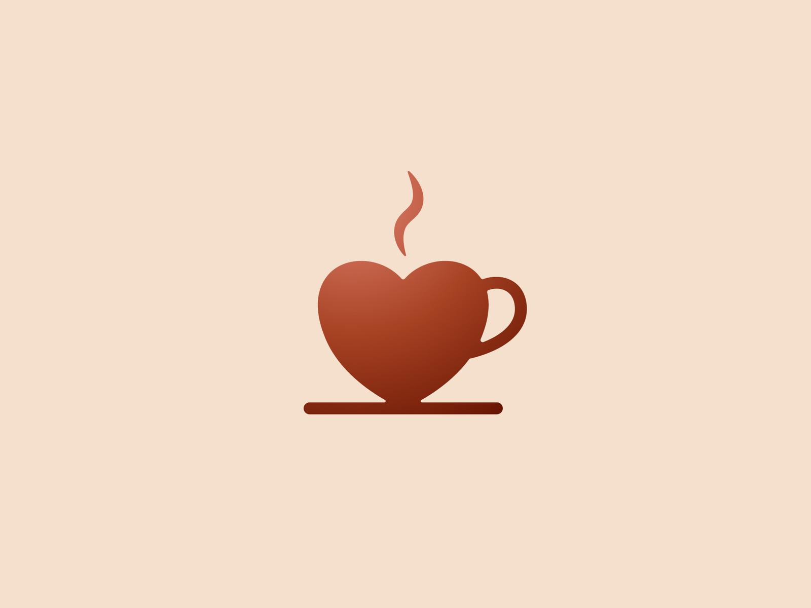 Coffee + Heart love simplicity minimal art icon illustraor adobe creative minimalist logo minimalist minimalism minimal logodesign logo morning like drink coffee heart