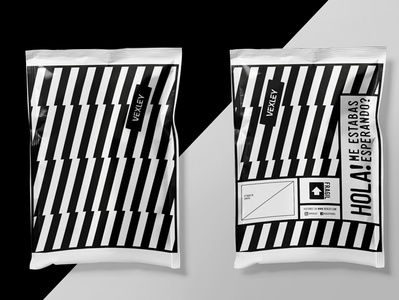 Shipping packaging for Vexley Footwear pattern typography black and white graphics branding e commerce mailorder packaging