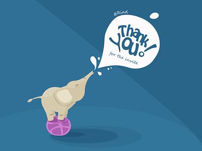 Thank You thank you elephant dribble vector flat spotlight splash