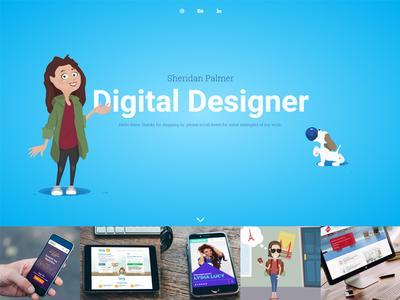 Portfolio  grid layout female dog vector ui design website portfolio