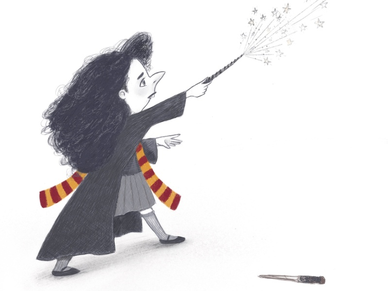 Expelliarmous! procreate fanart sketch cartoon hermione drawing harrypotter