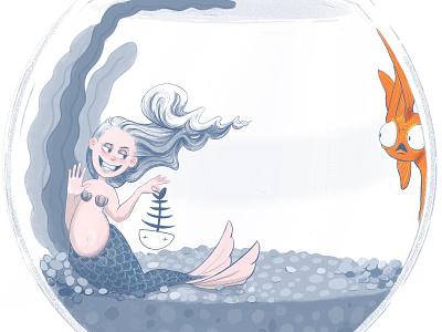 Little Know Mermaid Fact #1:  Mermaids love sushi print mermaid mermay character design illustration