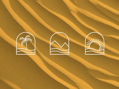 Palm Tree, Mountains and Sun Logo Design illustration art brand design design logo branding