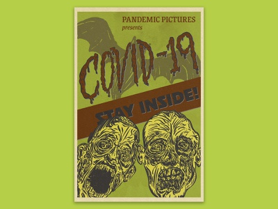 COVID-19 Horror Movie Poster zombie zombies horror horror movie vector lettering illustration type design typography