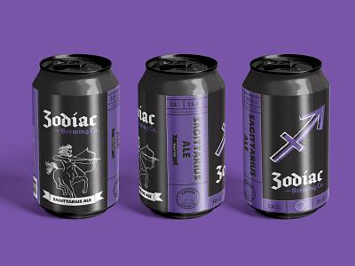 Zodiac Brewing Co. - Sagittarius Ale branding concept branding and identity branding design packaging design sagittarius zodiac sign beer can design beer can beer art beer branding beer label beer design illustration