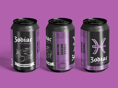 Zodiac Brewing Co. - Pisces beer packaging packaging label design brewery branding brewery logo brewery beer art beer can beer branding beer label beer typography vector logo logo design branding illustration design