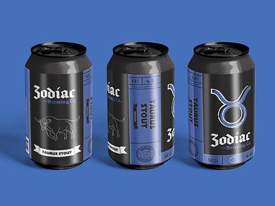 Zodiac Brewing Co. - Taurus illustration logo brewery branding craft beer can design packaging beer can beer label design beer