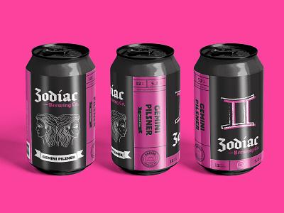 Zodiac Brewing Co. - Gemini type logo design typography design packaging branding logo craftbeer illustration beer can design beer art beer branding beer label beer can beer