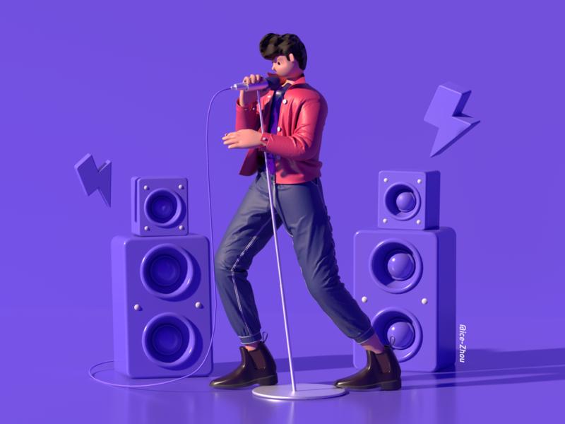 rock singer sports renderer 3d art soundstage singer purple microphone marvelous designer character c4d band 3d character 3d