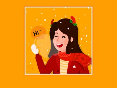 Merry Christmas!Christmas avatar drawn with ipad