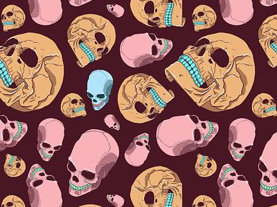 Colored Skulls Repeat Pattern seamless repeat skulls skull monster design pattern illustration