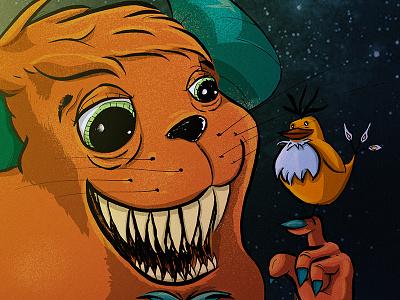 Gadarast, The Bird Keeper illustration monster fangs bird night