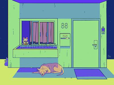 nap dog background character design illustration