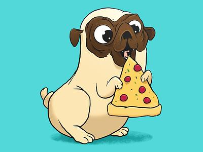 Pizza Pug illustration pizza pug