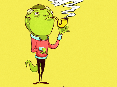 Clovis pipe polished horns green cartoon aristocrat fancy character design monster
