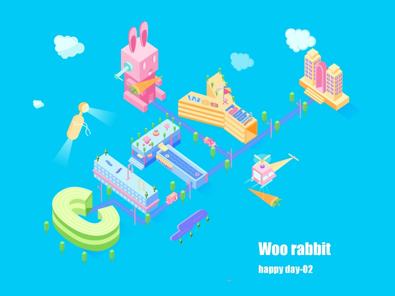 Woo Rabbit ui learning illustration design