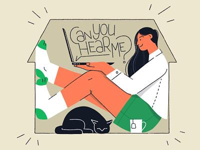 Home Office 🏡 cat homeoffice home charachter design ipad procreate girl illustration