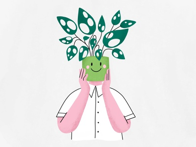 Green up! 🍀 drawing pot flower charachter design procreate ipad illustration