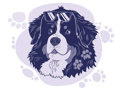 Bernese vector illustration doglove dogillustration studiowformie bernesemountaindog