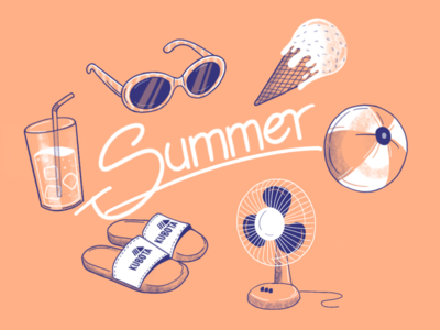 Summer essentials☀️ drink ball fan ice sunglasses doodle procreate summer