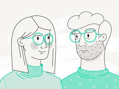 The look 👀 procreate couple outline girl boy