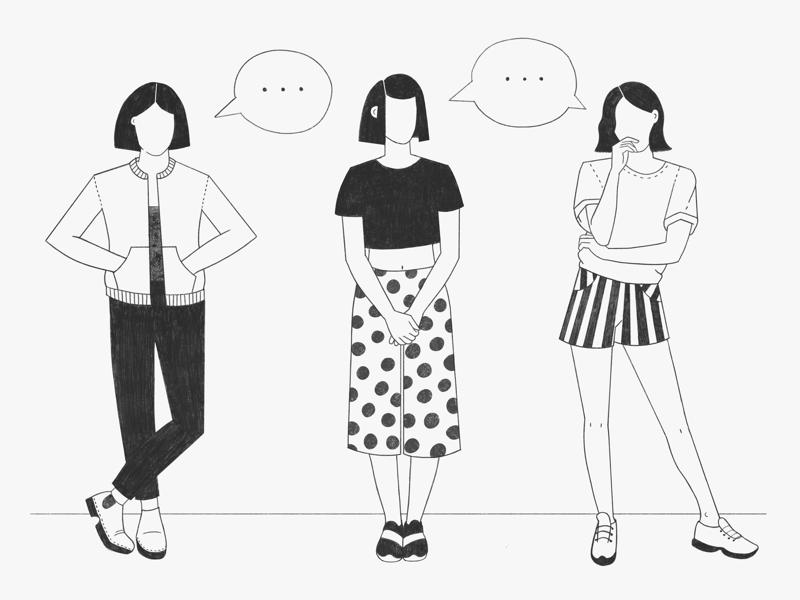 Three girls, one thought 💬 procreate ipad character girls