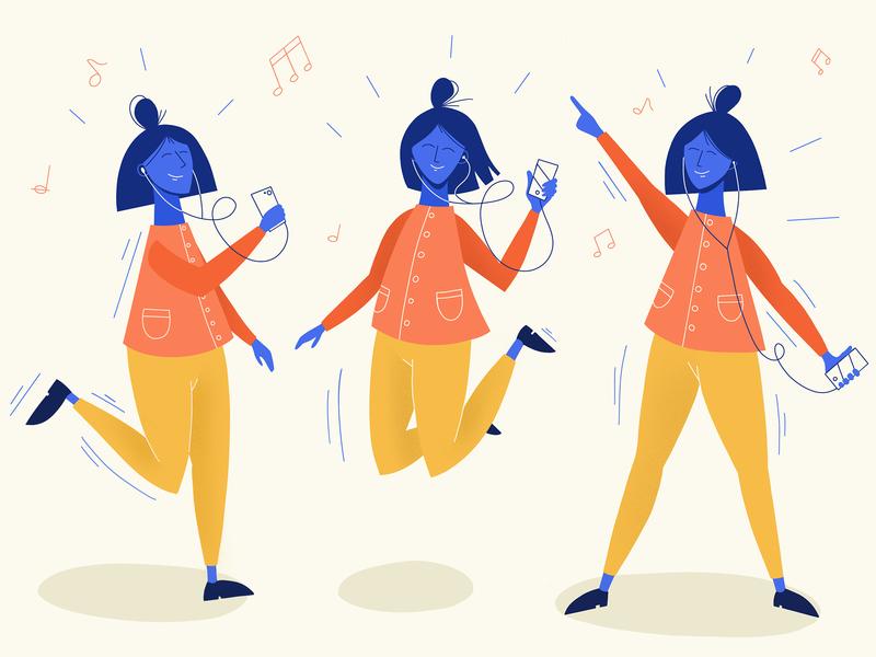 When music is too good 🎵 flat vector music ipadpro procreate app illustraiton dance girl