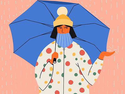 It's on! 🍁 procreate girl rain autumn