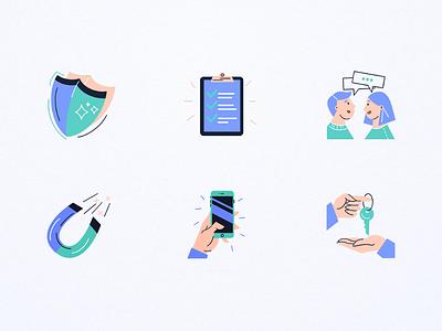 Flatfair icons 💙 characer ipad procreate illustrated icons icons set icons