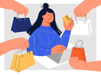 Online shopping 🛍️ unused charachter hands online shopping bag shopping ipad illustration procreate girl