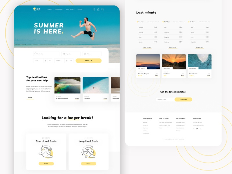 Summer is here! 🌞 mainpage design illustration traveling travel agency summer concept userinterface webstie