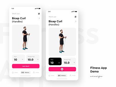 Fitness App Demo fitness app slider handles curl biceps gym free ux ui minimal design