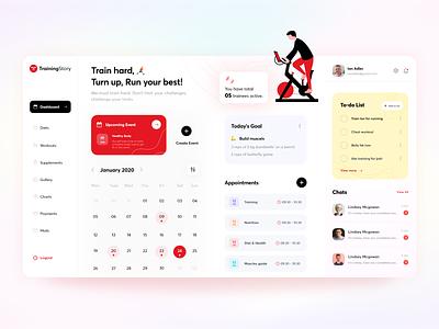 Fitness Trainer Dashboard uidesign dailyui web dashboard dashboard trainer gym fitness blur flat app web free typography ux ui 3d minimal design