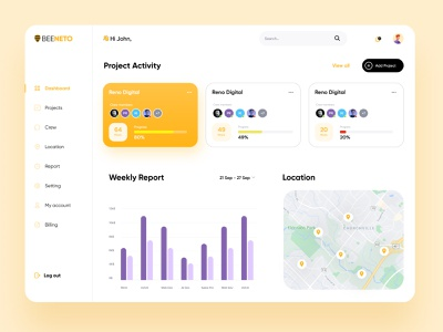 Project Activity Dashboard Design tasks project management card map grapgh sidebar free yellow muudy uiuxpo web dashboard designs daily ui dashboard ux ui modern illustration minimal design