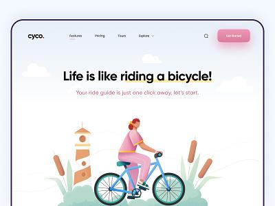 Bicycle riding guide - Web Page modern illustration ui free branding ux minimal design