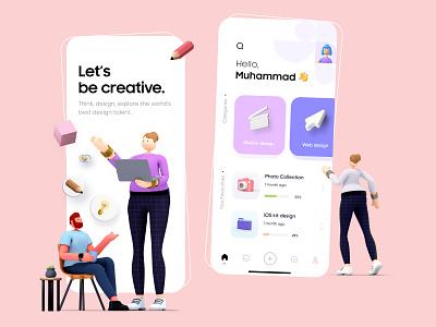 3D app design for creatives - UI/UX design minimal art character clean 3d art flat ui icon branding logo muudy 3d animation mobile app typography app minimal vector illustration free ux ui design
