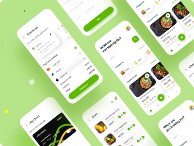 Online food ordering app - UX/UI Design credit card payment checkout mobile app design popular categories ordering food illustration food app food dailyui minimal art vector modern illustration free ui ux minimal design