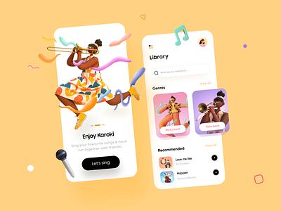 Music App Design - UI/UX Design player character 2d art 3d art music player music app music karoke mobile app app dailyui vector modern illustration free branding ui ux minimal design