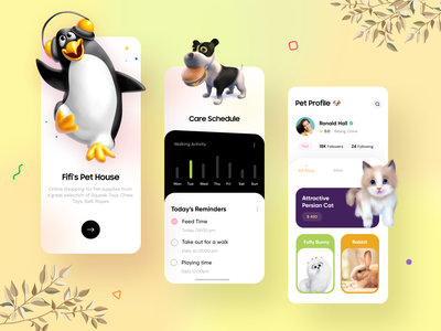 Pet care mobile app - UX/UI Design cards schedule muudy dailyui free trend clean ui 2d art 3d art dog cat penguin mobile app pet care modern app ux ui minimal design