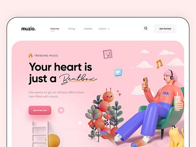 Play music with mood - Web Design free popular trending trend web application heart clean ui playlist music app 3d webdesign web app website app dailyui modern ux ui minimal design