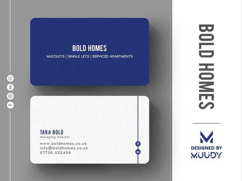 Bold Homes Business card | MUUDY minimal modern business card business card mockup illustration logo design branding
