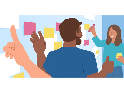 Office Culture thumbs up flat illustration illustration working together community brainstorm whiteboard post it culture