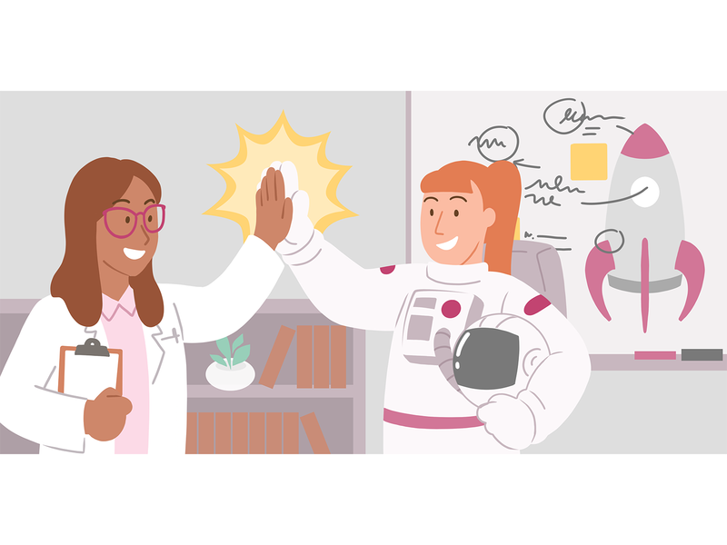 Astronaut Teamwork flat illustration high five rocket rocketship whiteboard doctor scientist researcher astronaut