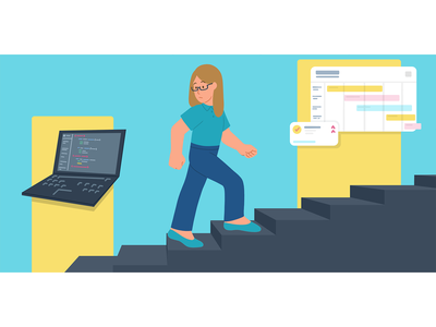 Step Up stairs planning female engineer tech coding promotion